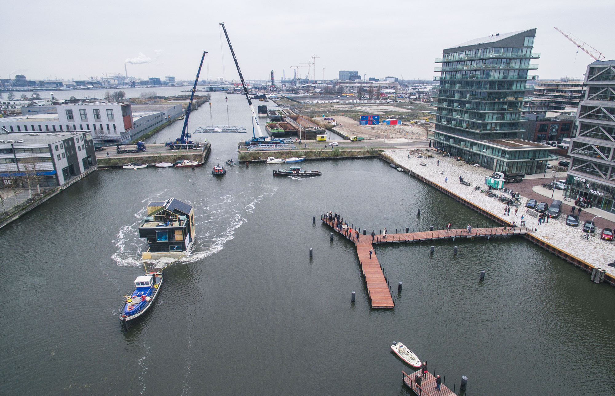 Residents have started moving in to what will be Europe's most sustainable floating community.