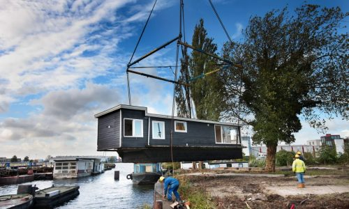 De Ceuvel was created by lifting old houseboats onto land and retrofitting them to become offices.