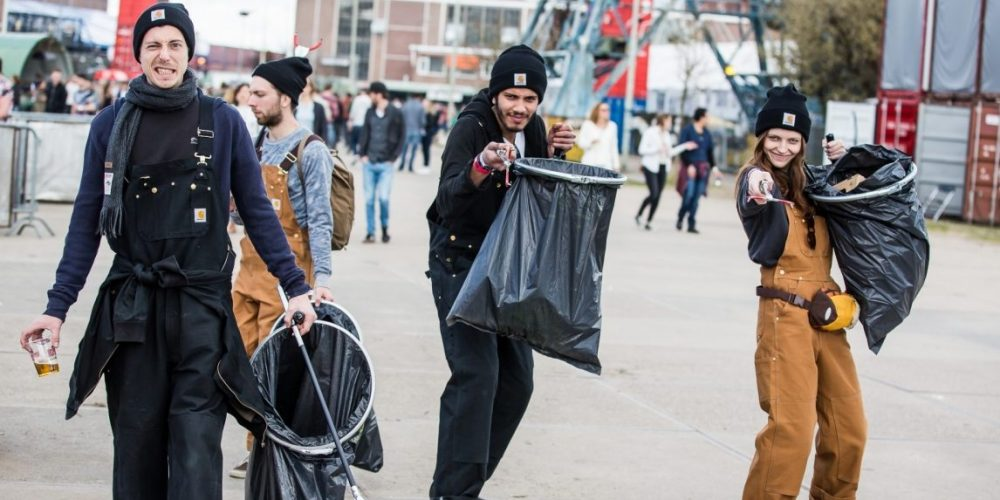 """The """"trash army"""" at DGTL works to keep the festival grounds clean. Photo by DGTL"""